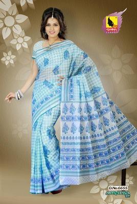 Sea Blue Color Cotton Saree