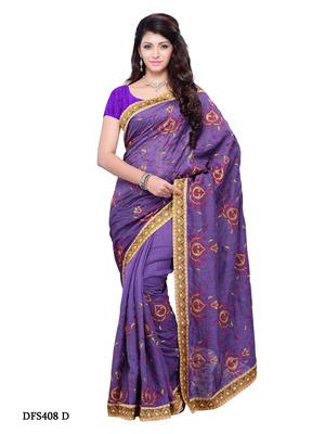 Violet Color Art Silk Bollywood Party Wear Designer Saree