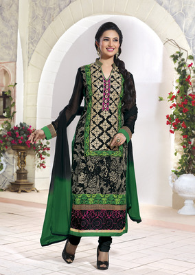 Black Embroidery Pure Georgette Semi Stitched Designer Straight Suit