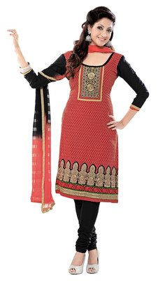 Amazing Red Colored Embroidered Cotton Salwar Kameez