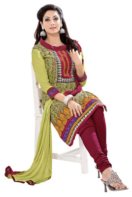 Astounding Green Colored Embroidered Cotton Salwar Kameez