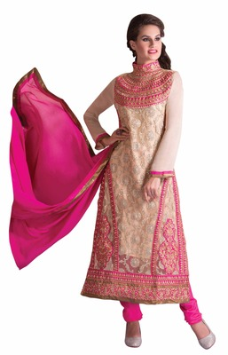 Adorable Beige Colored Georgette Salwar Kameez