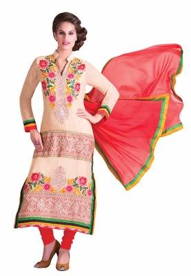 Wonderful Beige Colored Georgette Salwar Kameez