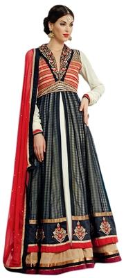 Mesmerizing Black Colored Banarasi Silk Anarkali