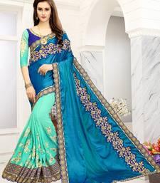 Buy Turquoise embroidered art silk sarees saree with blouse art-silk-saree online