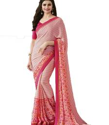 Buy Peach printed georgette saree with blouse georgette-saree online