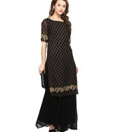 Buy Black  georgette stitched kurtas-and-kurtis kurtas-and-kurti online