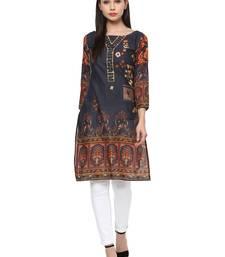 Buy Grey printed cotton stitched kurtas-and-kurtis kurtas-and-kurti online