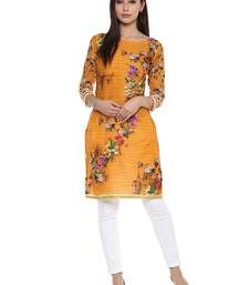 Buy Yellow printed cotton stitched kurtas-and-kurtis wedding-season-sale online