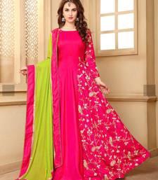 Buy Pink embroidered silk anarkali salwar with dupatta anarkali-salwar-kameez online