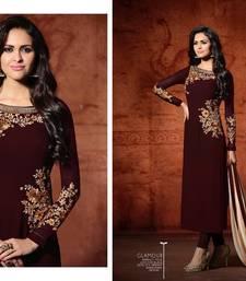 Buy Maroon embroidered georgette salwar with dupatta semi-stitched-salwar-suit online