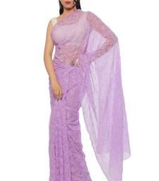 Buy Light purple embroidered georgette saree with blouse chikankari-sari online