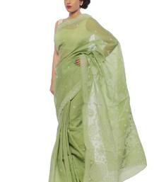 Buy Green embroidered cotton saree with blouse designer-embroidered-saree online