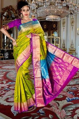 Parrot green pure silk zari weaved saree in purple & green pallu-SR5800