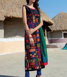 Buy multicolor stitched taffeta silk stitched kurti ethnic-kurtis online