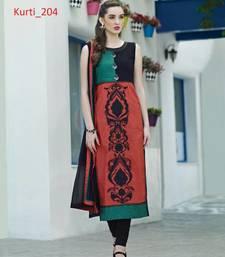 Buy multicolor stitched taffeta silk stitched kurti long-kurti online