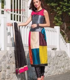 Buy multicolor stitched taffeta silk stitched kurti black-friday-deal-sale online