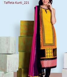 Buy yellow stitched taffeta silk stitched kurti wedding-season-sale online