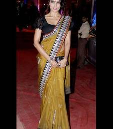 Buy Yellow embroidered net saree with blouse bipasha-basu-saree online