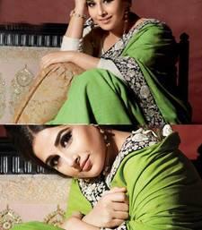 Buy Green embroidered silk saree with blouse vidya-balan-saree online