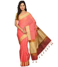 Buy Pink plain silk cotton saree with blouse banarasi-saree online
