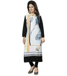 Buy White printed crepe stitched long-kurtis (Premium quality) long-kurti online