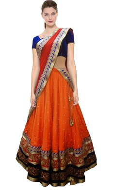 Orange embroidered georgette unstitched lehenga with dupatta