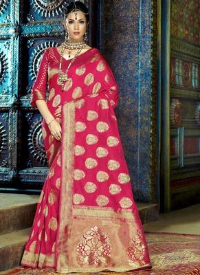 Rani pink woven kanchipuram silk saree with blouse
