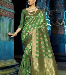 Buy Green woven kanchipuram silk saree with blouse black-friday-deal-sale online