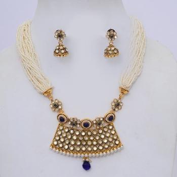 Pearls & Polki Choker Necklace Set