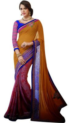 Designer Partywear Georgette Jacquard With Embroiderry Attractive Multicolor Saree With Embroidered Blue Blouse