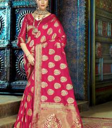Buy Rani pink woven kanchipuram silk saree with blouse kanchipuram-silk-saree online