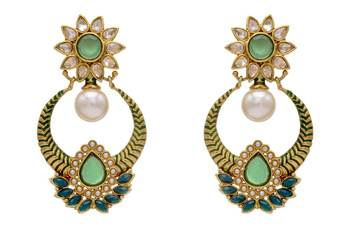 ANTIQUE GOLDEN STONE STUDDED FLOWER STYLE CHAAND BAALI EARRINGS/HANGINGS (GREEN)  - PCAE2112