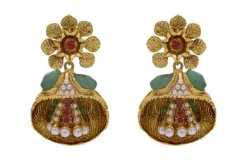ANTIQUE GOLDEN STONE STUDDED FLOWER STYLE EARRINGS/HANGINGS (RED GREEN)  - PCAE2202