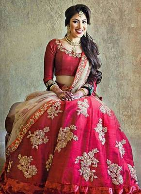 Multicolor embroidered silk unstitched lehenga with dupatta