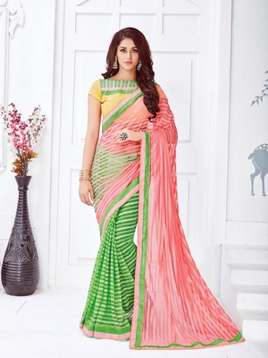 Salmon embroidered net saree with blouse