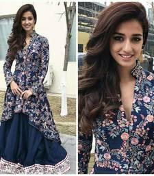Buy Dark navy blue printed silk salwar salwar-kameez online