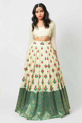 Multicolor embroidered cotton silk semi stitched lehenga with dupatta