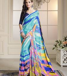 Buy Sky blue printed crepe saree with blouse crepe-saree online