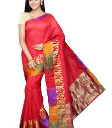 Buy Red plain banarasi silk saree with blouse banarasi-silk-saree online