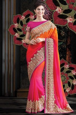 Multi colour georgette zari worked saree with pink raw silk blouse-SR5727