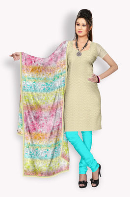 Tussar Salwaar Kameez With Resham Embroidery & Crochet Work (Fabric Only) - E0301030