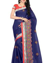 Buy Blue embroidered chanderi silk saree with blouse chanderi-saree online