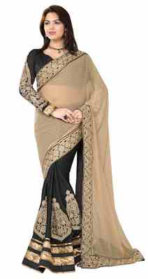 Black Border Worked Faux Georgette,Chiffon Saree With Blouse