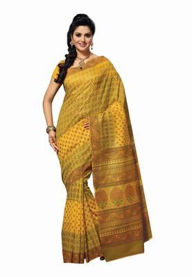 Light Yellow Colored Cotton Printed Saree