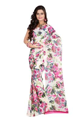 Cream & Pink Colored Dani Georgette Printed Saree