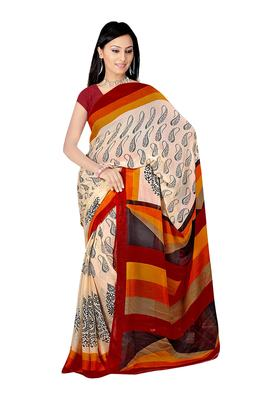 Black & Brown Colored Chiffon Printed Saree