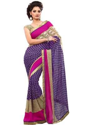 Violet Colored Chiffon Printed Saree