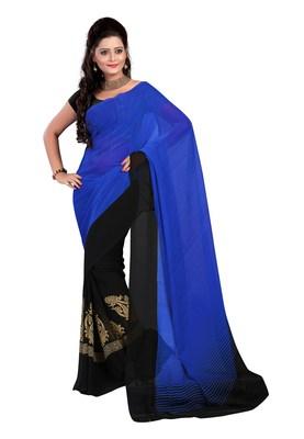 Black & Blue Colored Faux Georgette Printed Saree