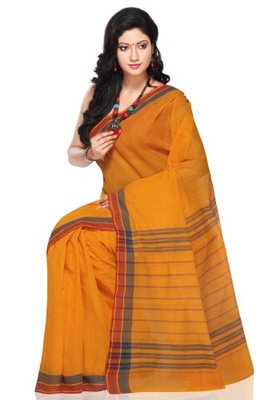 Orange hand_woven Cotton cotton-sarees With Blouse